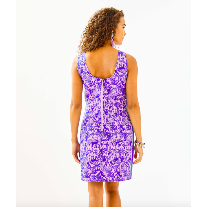 Load image into Gallery viewer, Lilly Pulitzer Mila Stretch Shift Dress Lilac Freesia Safari As I Can See
