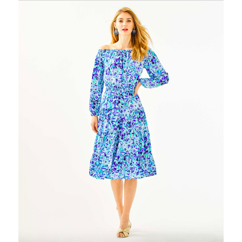 Lilly Pulitzer Jennie Off-The-Shoulder Midi Dress Iris Blue High Manetenance