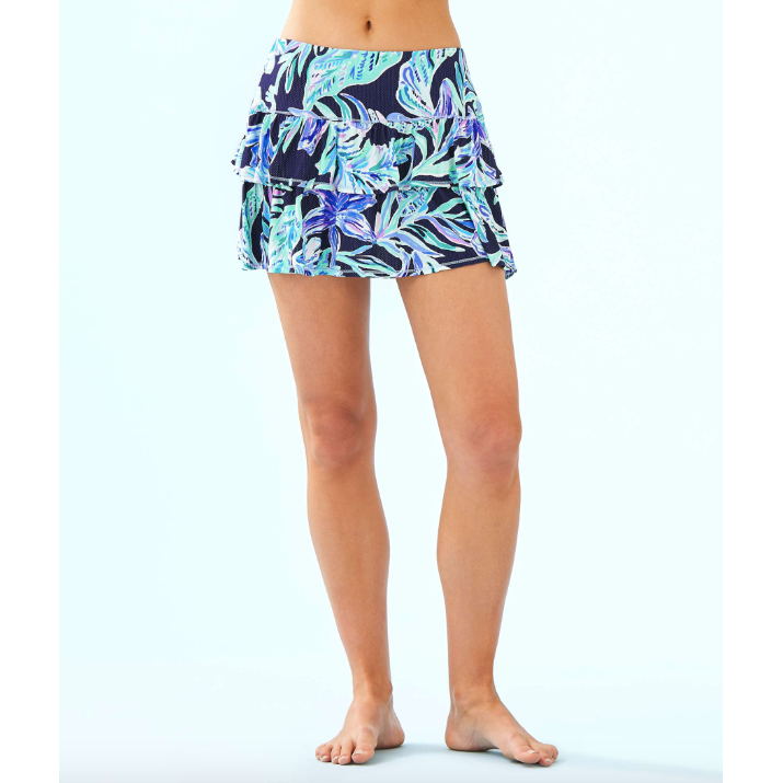 Lilly Pulitzer Luxletic Althea Active Skort High Tide Navy Ready Set Gecko