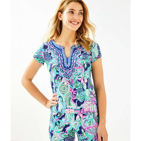 Lilly Pulitzer Alora Top Multi Lookin Sharp Engineered