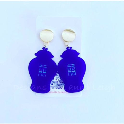 Designs by Laurel Leigh Chinoiserie Chic Double Happiness Ginger Jar Earrings Royal Blue