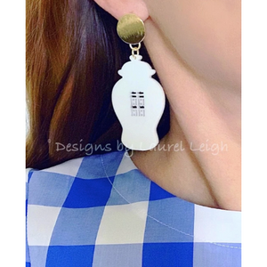 Designs by Laurel Leigh Chinoiserie Chic Double Happiness Ginger Jar Earrings White