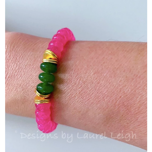 Designs by Laurel Leigh Gemstone Bracelet Pink with Green
