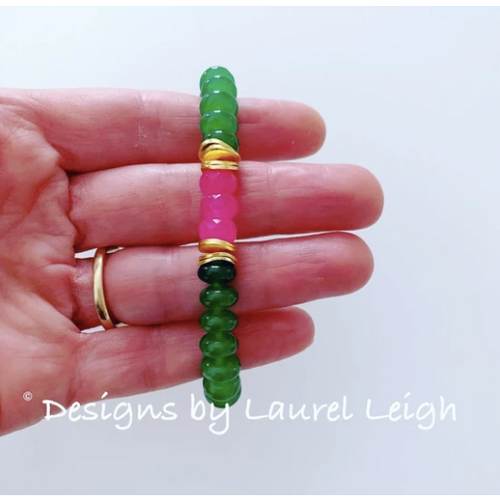 Designs by Laurel Leigh Gemstone Bracelet Green with Pink