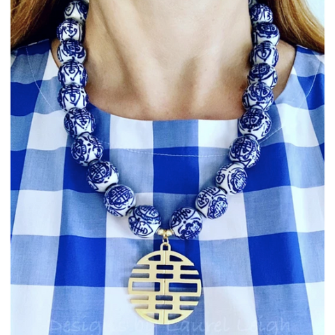 Designs by Laurel Leigh Chunky Chinoiserie Double Happiness Pedant Necklace Blue/White