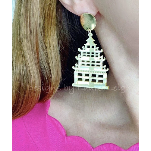 Designs by Laurel Leigh Chinoiserie Chic Pagoda Earrings Gold