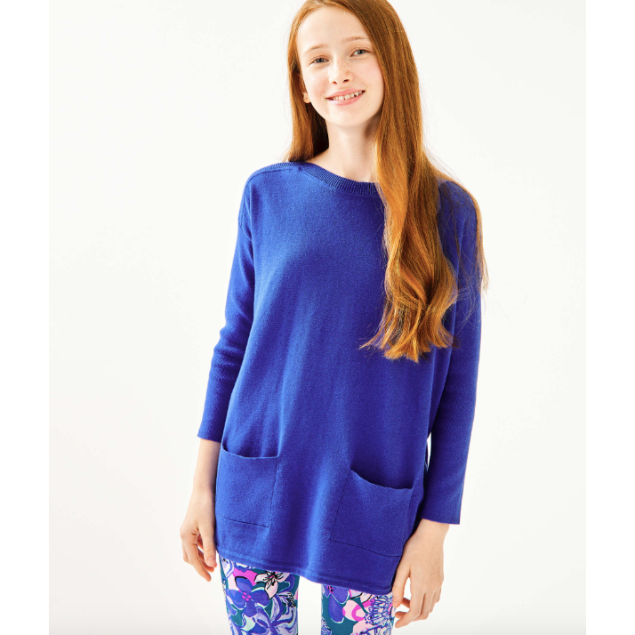 Load image into Gallery viewer, Lilly Pulitzer Girls Mini Cobo Sweater Iris Blue
