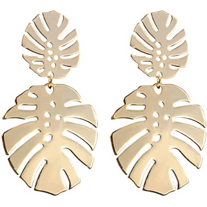 Palm Leaf Earrings Gold