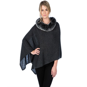 Alashan LUXE Windchill Fox Trim Topper Charcoal/Frosted Ebony