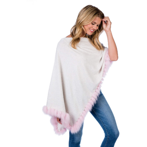 Alashan Flutter Fox Fur Cashmere Blend Dress Topper Poncho Mineral/Pink