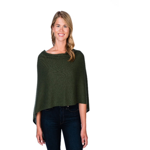 Alashan Cashmere Dress Topper Poncho Army Green