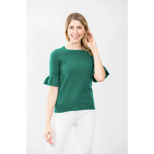 Two Bees Angel Ruffle Sleeve Evergreen