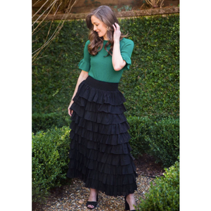 Load image into Gallery viewer, Two Bees Angel Ruffle Sleeve Evergreen