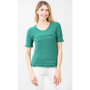Two Bees Cotton Fringe Tee Jade