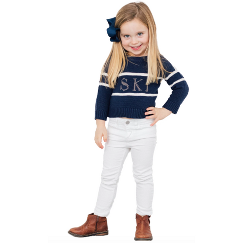 Sail To Sable Kids Navy Intarsia Ski Sweater