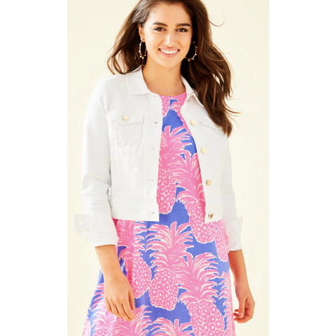 Lilly Pulitzer Seaspray Denim Jacket Resort White