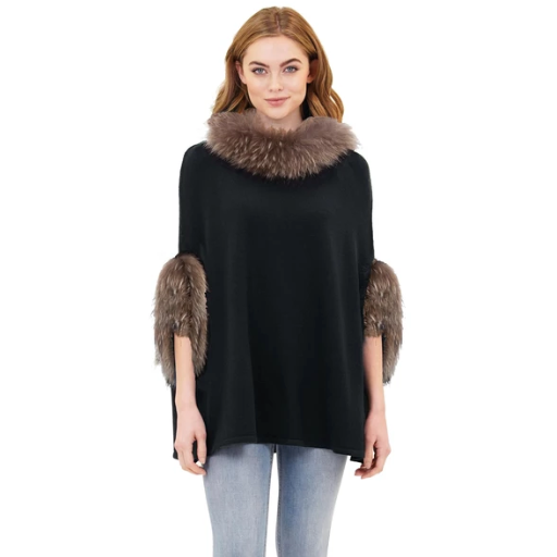 Love Token Walter Poncho with Raccoon Fur Trim Black