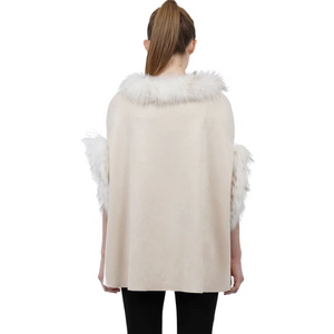 Love Token Carla Faux Suede with Fur Trim Poncho
