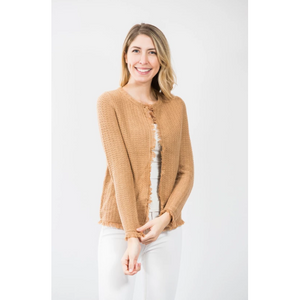 Two Bees Cotton Fringe Trim Cardigan Tan