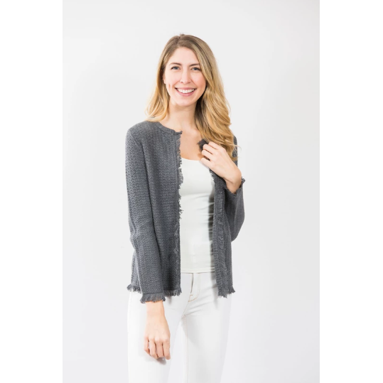 Two Bees Cotton Fringe Trim Cardigan Charcoal