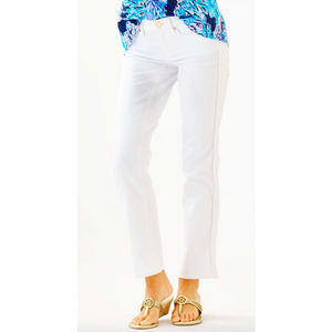 "Lilly Pulitzer 28.5"" South Ocean Slim Crop Pant Resort White"