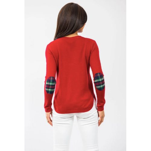 Two Bees Cashmere Plaid Elbow Patch Sweater Garnet/Green Plaid