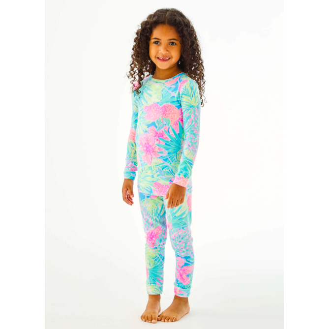 Load image into Gallery viewer, Lilly Pulitzer Girls Sammy Pajama Set Multi Swizzle In Reduced