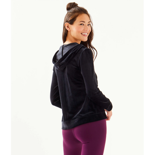Lilly Pulitzer Larina Velour Zip-Up Onyx