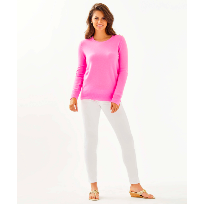 Load image into Gallery viewer, Lilly Pulitzer Delvin Cashmere Sweater Prosecco Pink