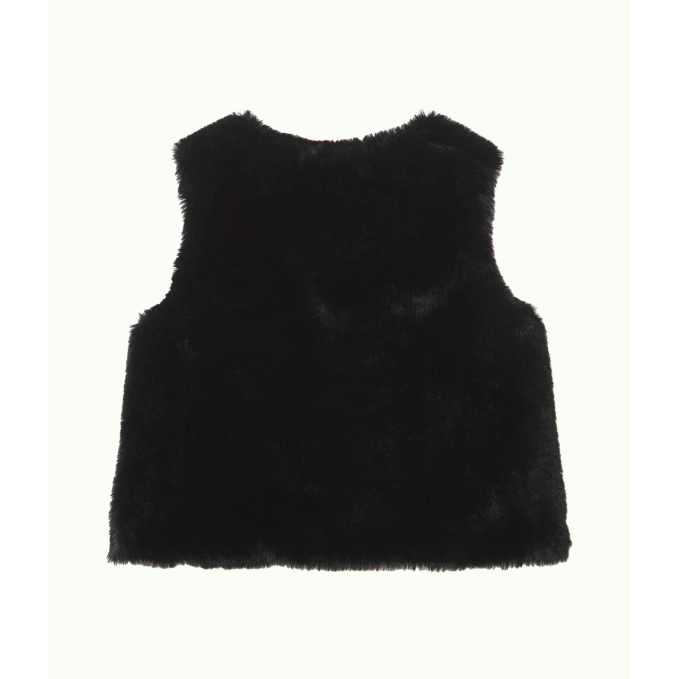 Lilly Pulitzer Girls Winston Faux Fur Vest Onyx