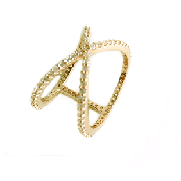 Pave X Reversible Ring Gold