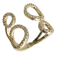 Double Bubble Adjustable Ring Gold