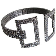 Double Square Adjustable Cuff Silver/Black