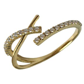 Single Band Criss Cross Ring Gold