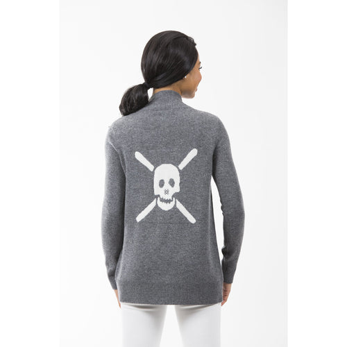 Two Bees Ski Skull Cardigan Charcoal/Ivory Skull