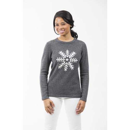 Two Bees Snowflake Intarsia Sweater Charcoal/Ivory