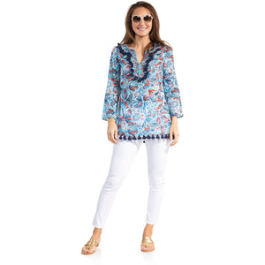 Load image into Gallery viewer, Sail To Sable Cotton Tassel Tunic Top Firework