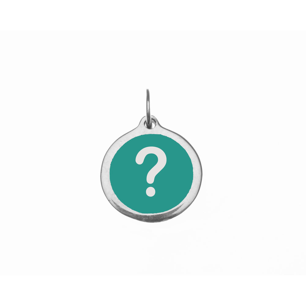Small Teal Question Mark Charm