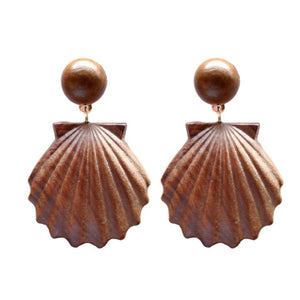 Load image into Gallery viewer, St. Armands Wooden Shell Drop Earrings