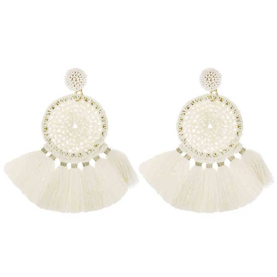 Crochet Circle Statement Earring White