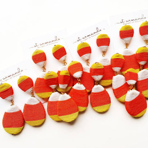 Candy Corn Pom Earrings