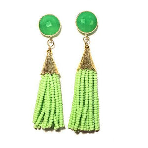 Load image into Gallery viewer, Sugar Cha Cha Cha Tassel Gemstone Earring Green/Green Onyx
