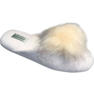 Load image into Gallery viewer, Pretty Pouf Slipper White