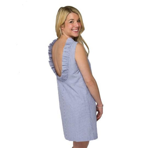 Just Madras Olivia Dress Blue Seersucker