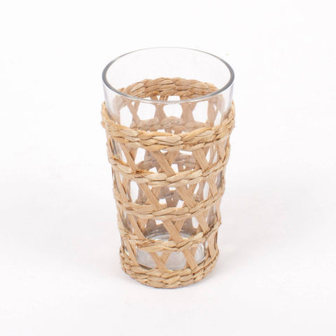 Newport Rattan Wrapped Tumbler Glass 16oz