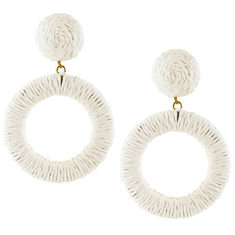 Raffia Hoop Earrings Resort White