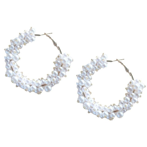St. Armands Pearl Cluster Hoop Earrings