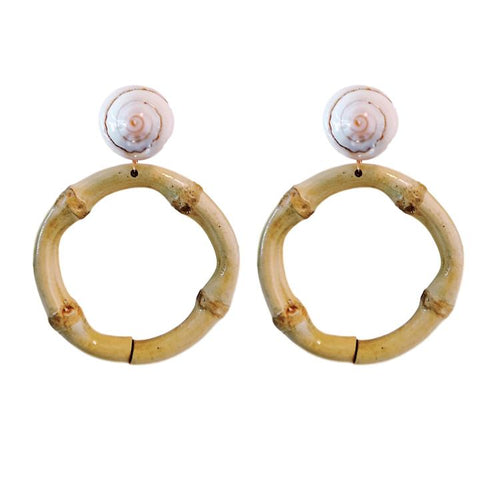 St. Armands Shell Bamboo Drop Earrings
