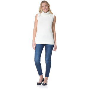 Sail To Sable Cotton Sleeveless Turtleneck Sweater Ivory