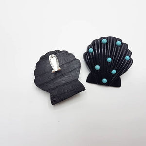 Ariel Black Wood Shell Earrings